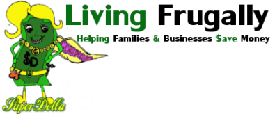 Living Frugally logo, with the SuperDolla mascot who loves to save money!