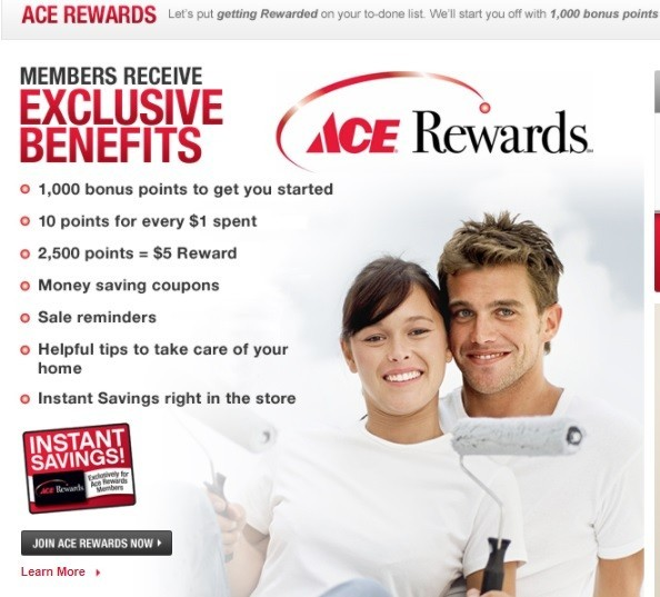 Screenshot of the Ace Hardware Rewards program.