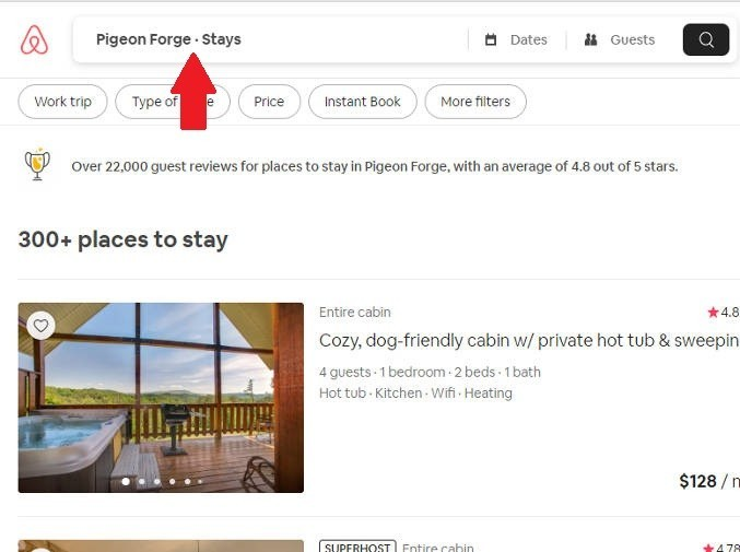 Screenshot showing how to search for houses near Pigeon Forge, Tennessee on Airbnb in order to save money while vacationing.