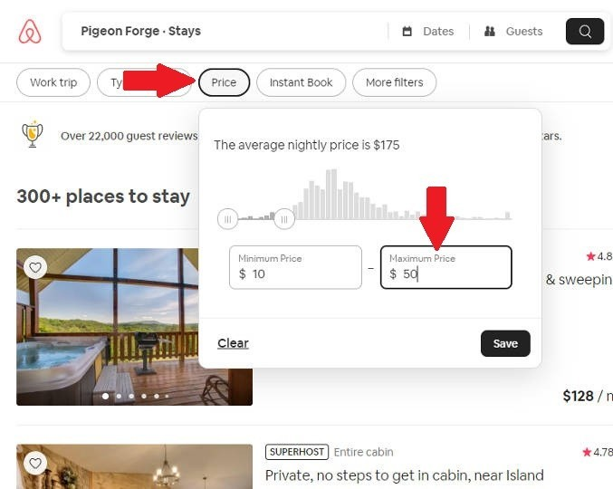 Screenshot showing how to narrow search for houses near Pigeon Forge, Tennessee on Airbnb by prices in order to save money.