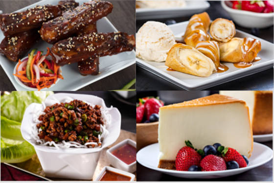 A variety of P.F. Changs birthday freebies to choose from: cheese cake, bananas with caramel sauce and other delicious treats.