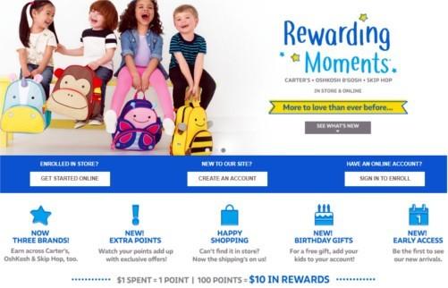 Screenshot of Carters' Rewards program for frugal shoppers.