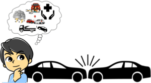 Illustration showing two cars colliding and a man looking like he's thinking when it comes to choosing the cheapest auto insurance.