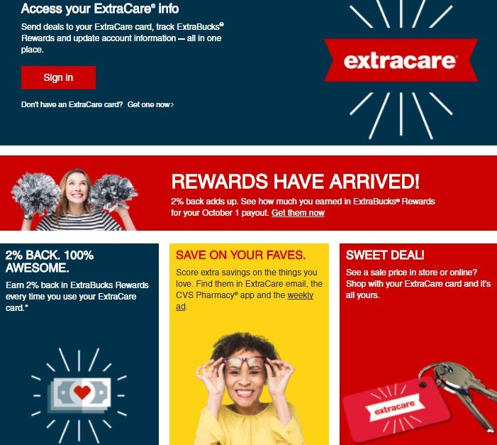 Screenshot of the CVS ExtraCare program for frugal shoppers.