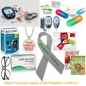 A variety of diabetic freebies... glucose monitors, medicine, and much more!