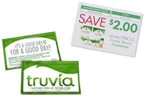 Sample packets of Truvia sweetener and a $2 off coupon.