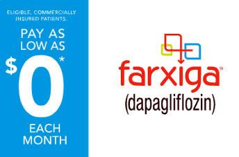 Pharmacy card for Farxiga, free diabetes medication.