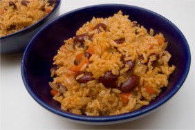 Bowl of beans and rice for frugal cooking tips.