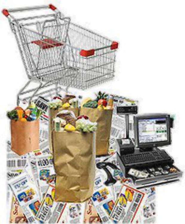 Frugal grocery shopping - shopping cart on top of scattered coupons, paper bags with groceries and a cash register.
