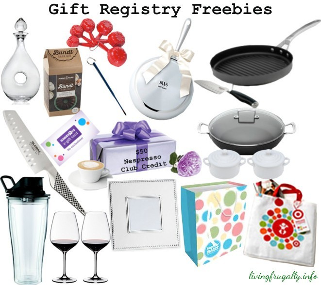 A variety of gift registry freebies for expectant parents and newlyweds.