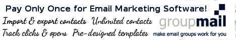 Groupmail banner - market your business. Pay once for email marketing.