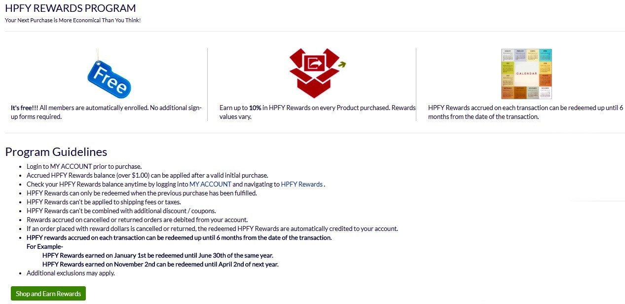 Screenshot of Health Products for You rewards program.