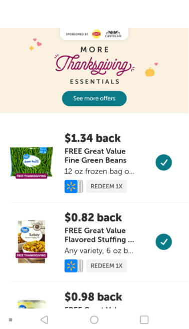 Screenshot showing free Thanksgiving offers on the Ibotta cashback app.
