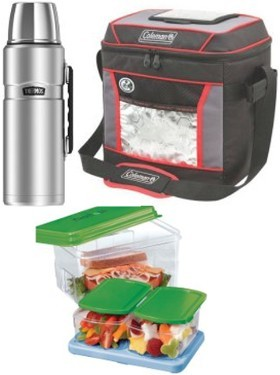 Money-saving products: reusable beverage bottle, lunchbox and storage containers.