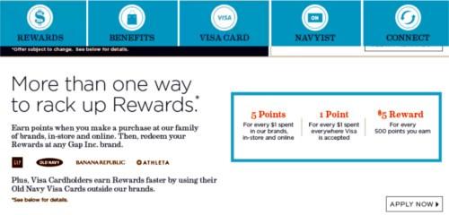 Screenshot of the Old Navy Navyist Rewards program.