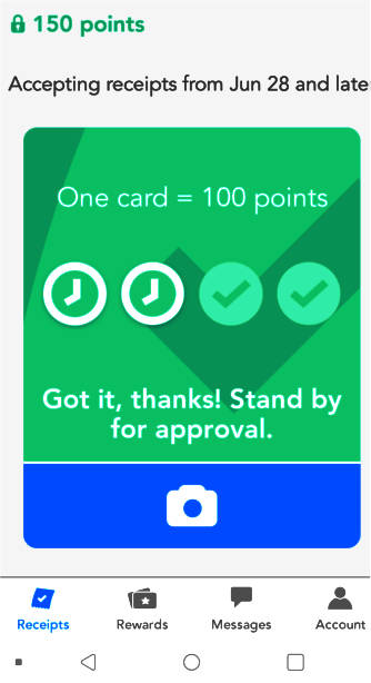 Screenshot of a points card from the Receipt Pal cashback app.