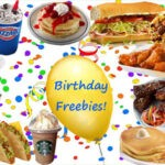 """A variety of foods with a """"birthday freebies"""" balloon in the center and a party favors background."""