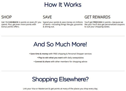 Screenshot with info about Sears' Shop Your Way rewards program.