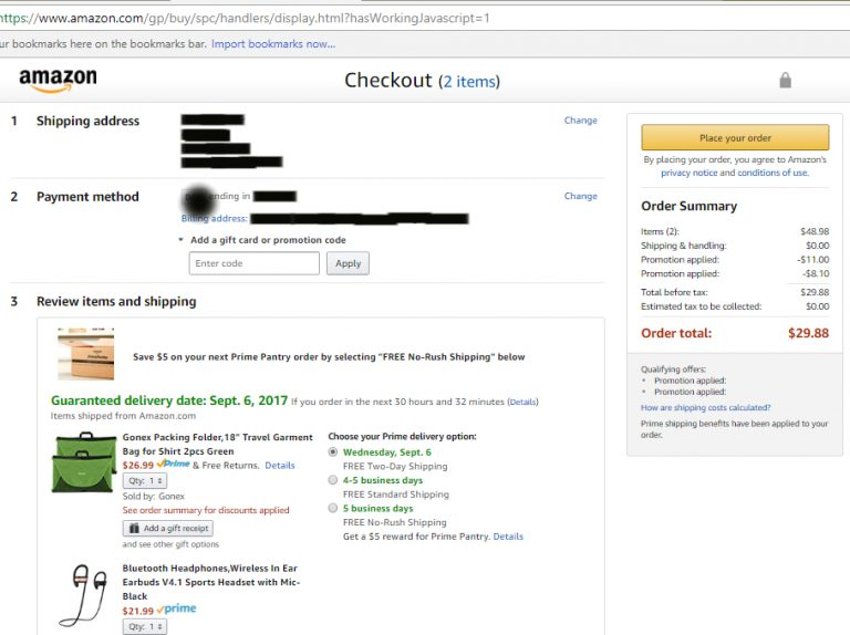 Screenshot of savings ($19.10) in Amazon cart after stacking coupons.