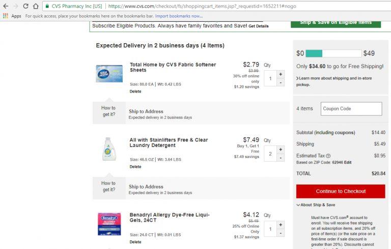 Screenshot of coupon savings at CVS' website.