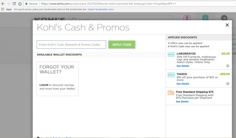 Screenshot of $12.40 savings in Kohl's cart. Maximized savings after stacking Kohl's Cash with 4 Kohl's offers.