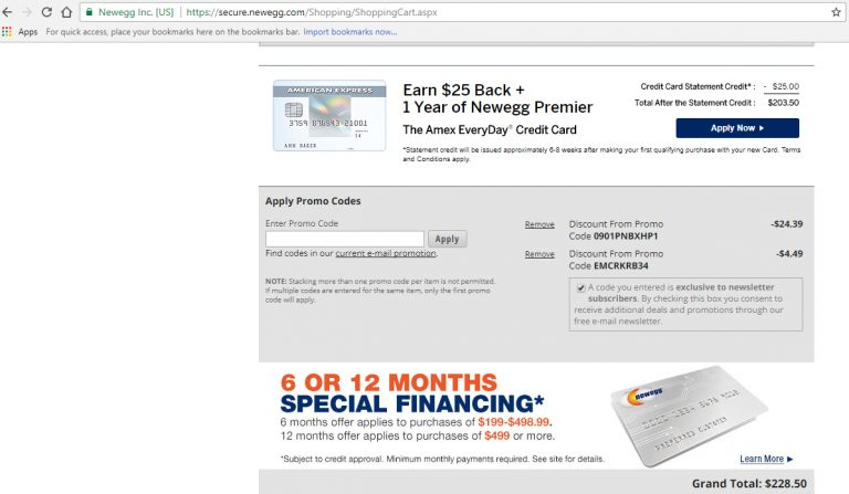 Screenshot of a savings of $28.88 in Newegg cart after stacking coupons to maximize savings.
