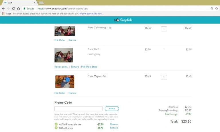 Screenshot of savings ($9.18) in Snapfish cart after stacking coupon savings.