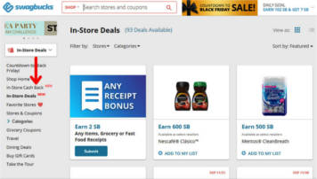 Screenshot showing where the in-store cashback link is located on the Swagbucks website.