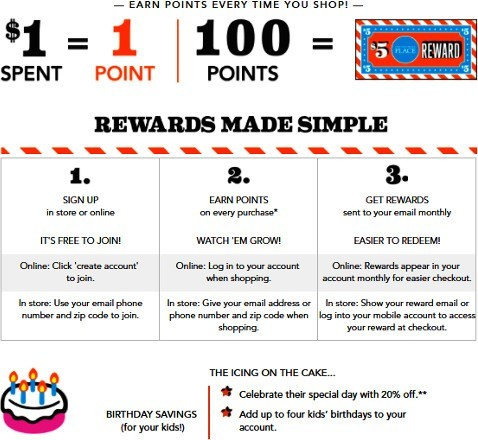 Screenshot showing the information about The Children's Place rewards program.